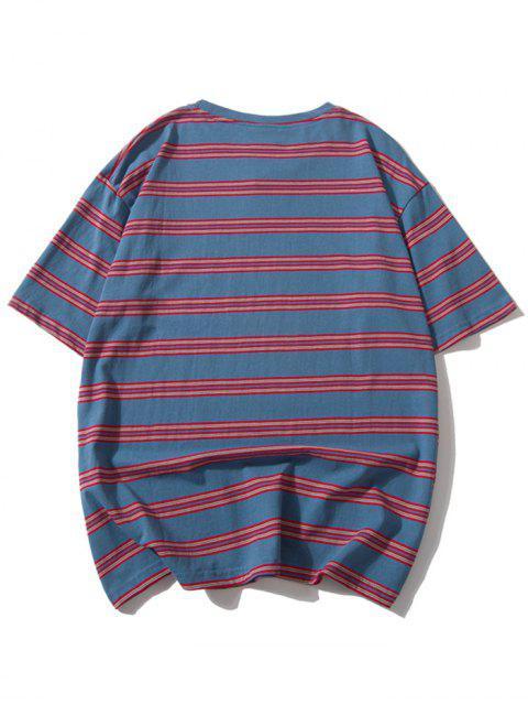 Camiseta Casual Rayada Hombro Caída - Multicolor-A 2XL Mobile