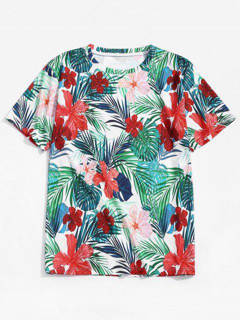 Camiseta tropical de la playa del diseño floral de la hoja - Multicolor S Mobile