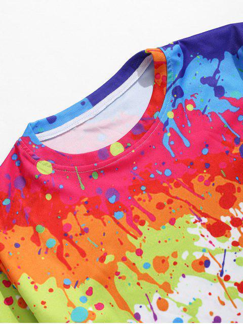 Camiseta de manga corta con estampado de pintura de salpicaduras - Multicolor L Mobile