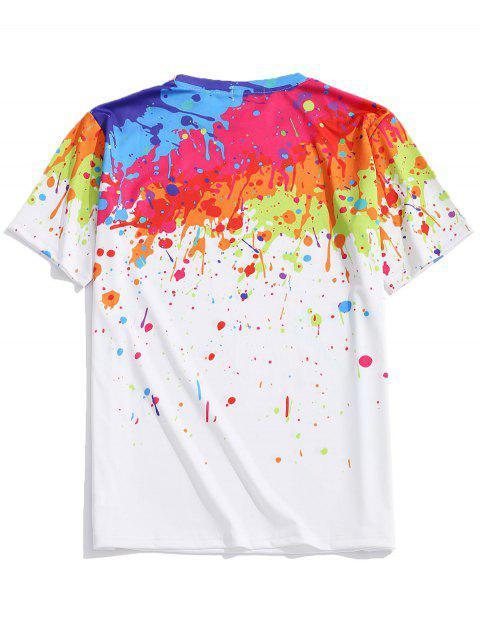 hot Splash Painting Print Short Sleeves T-shirt - MULTI 2XL Mobile