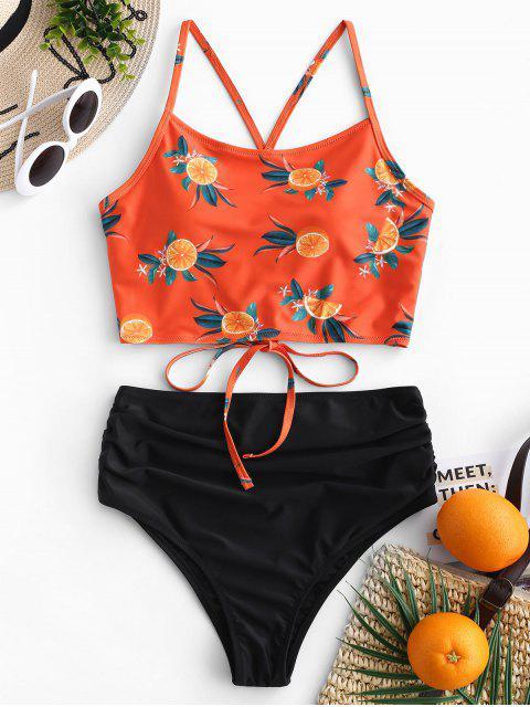 Set de Tankini de cintura alta con pliegues, hoja de piña ZAFUL - Naranja Papaya XL Mobile