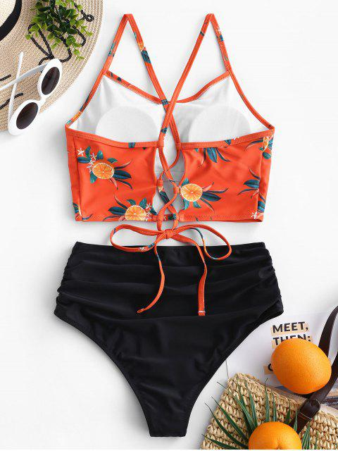 Set de Tankini de cintura alta con pliegues, hoja de piña ZAFUL - Naranja Papaya S Mobile