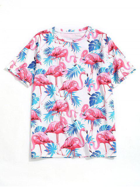 Camiseta de playa con estampado de flamencos de hoja tropical - Multicolor XL Mobile