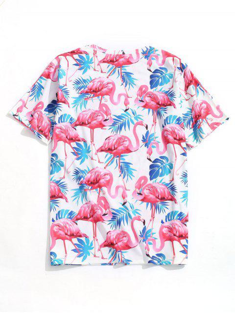 Camiseta de playa con estampado de flamencos de hoja tropical - Multicolor S Mobile