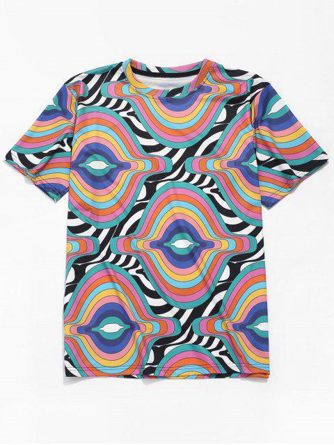 Camiseta de manga corta con estampado de rayas irregulares - Multicolor S Mobile