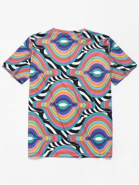 Camiseta de manga corta con estampado de rayas irregulares - Multicolor 2XL Mobile