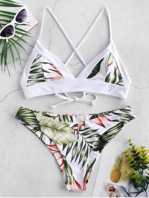 fancy ZAFUL Tropical Leaf Criss Cross Bikini Set - MULTI-A S Mobile