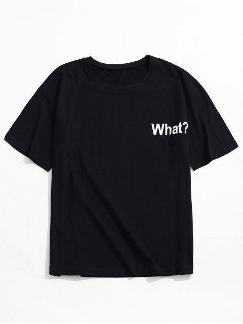 T-shirt à épaules dénudées et imprimé lettres - Noir S Mobile