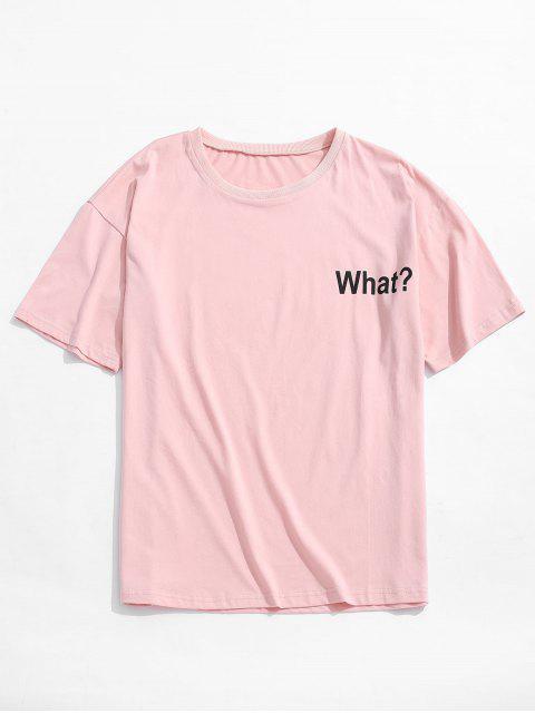 T-shirt à épaules dénudées et imprimé lettres - Rose  S Mobile
