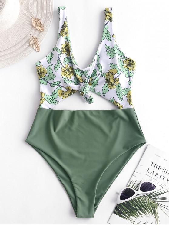 latest ZAFUL Plant Print Knot Cutout Swimsuit - DARK SEA GREEN M
