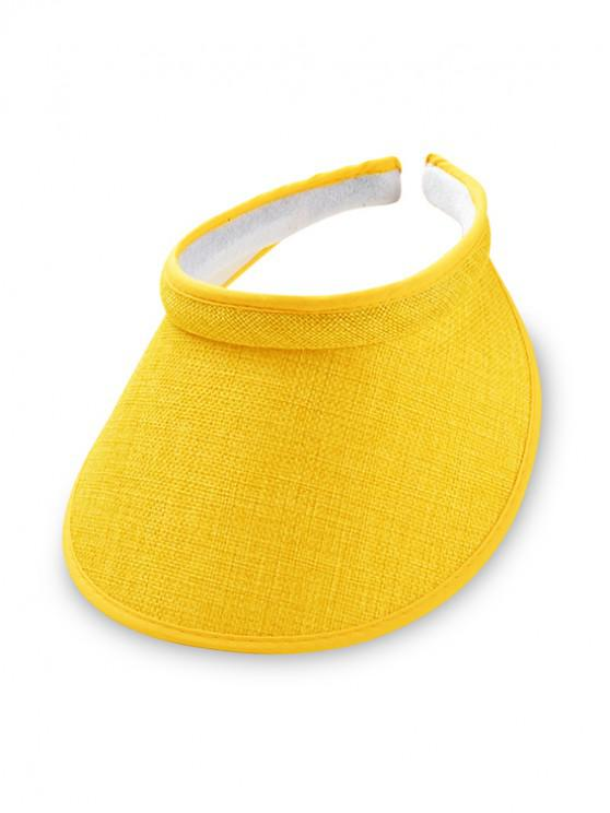 women's Straw UV Protection Visor Cap - YELLOW