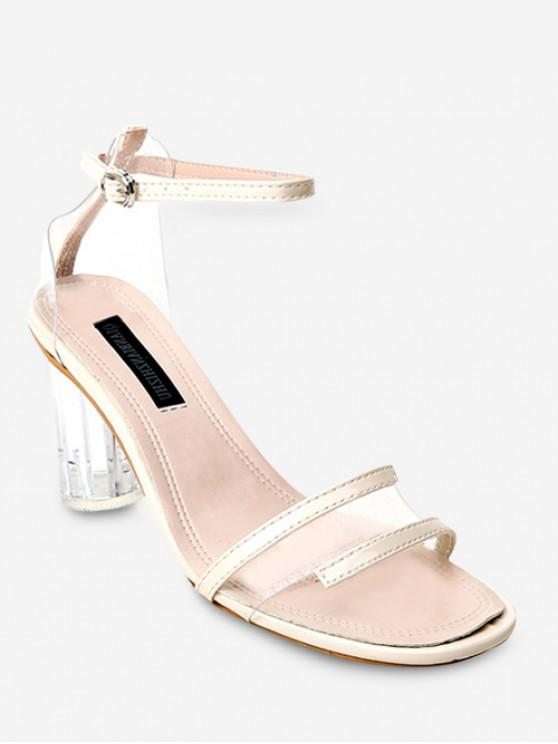 Clear Heel Transparent Mid Heel Sandals BEIGE BLACK BLUEBERRY BLUE YELLOW