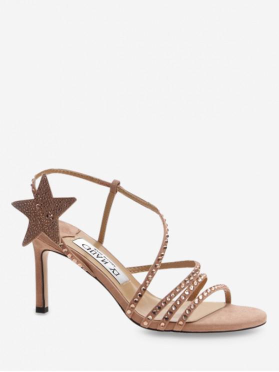 buy Star Rhinestone Strap High Heel Sandals - APRICOT EU 38