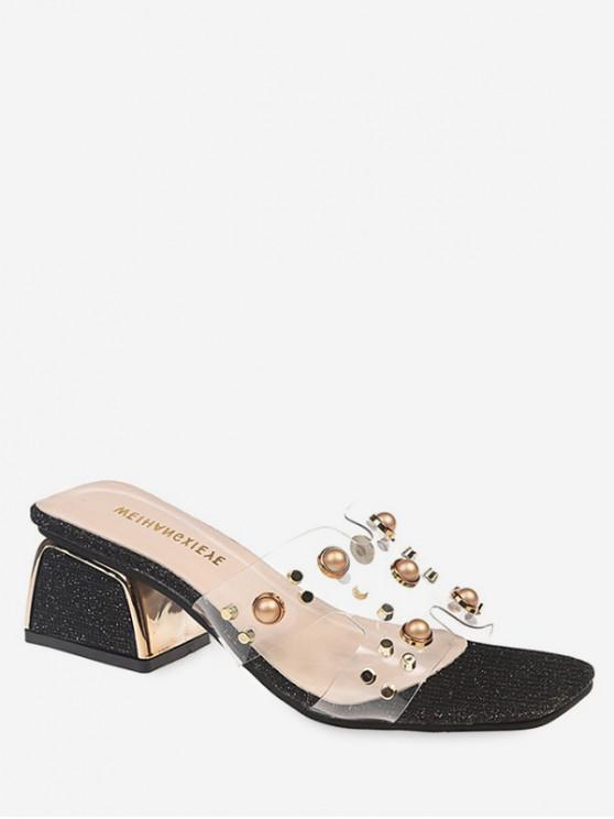 shop Beading Transparent Block Heel Slides - BLACK EU 36