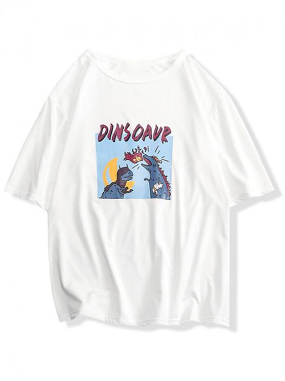 Dinosaurierdruck-Grafik-Beiläufiges T-Shirt - Milchweiß XS