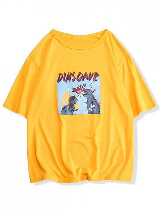 unique Dinosaur Print Graphic Casual T-shirt - GOLDENROD S