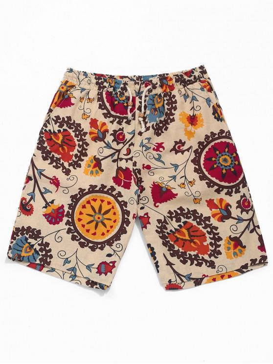 Pantalones cortos de tablero con estampado floral tribal étnico - Caqui S