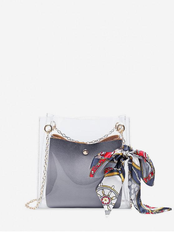 chic Silk Decor Transparent Chain Bucket Bag - GRAY CLOUD