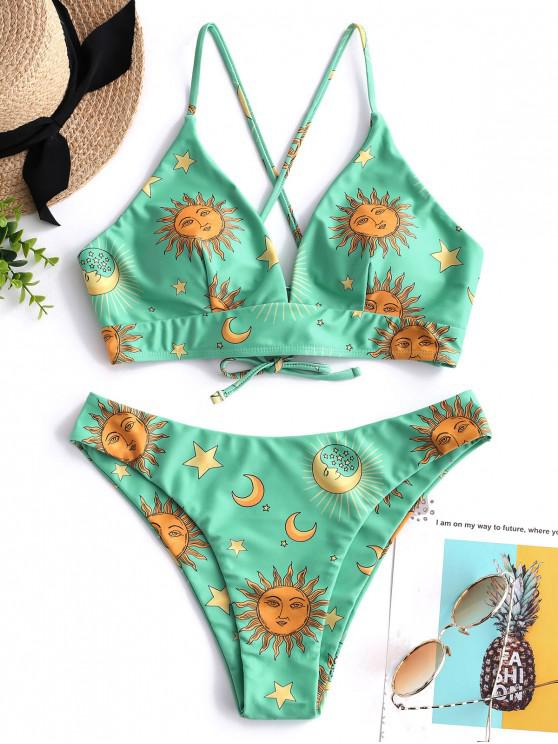 f6ed0090bce64 24% OFF   HOT  2019 ZAFUL Sun And Moon Lace Up Bikini Set In MULTI-B ...