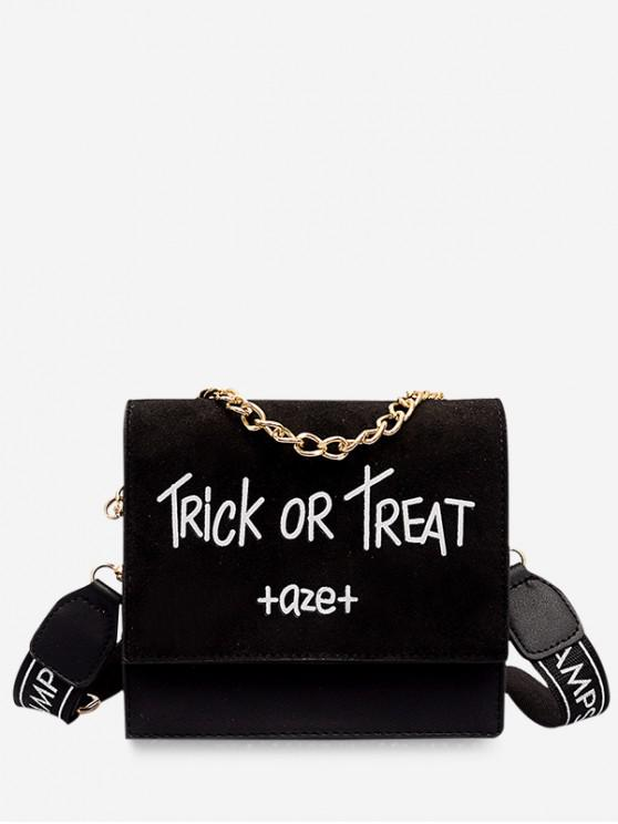 womens Letter Chain Decor Square Crossbody Bag - BLACK