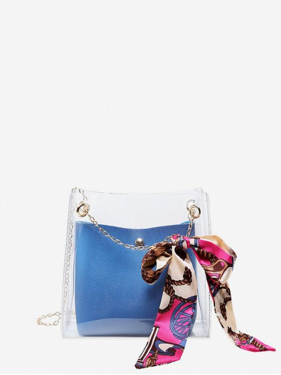new Silk Decor Transparent Chain Bucket Bag - SILK BLUE