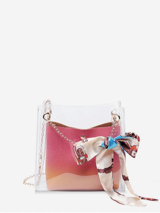 hot Silk Decor Transparent Chain Bucket Bag - DARK ORANGE