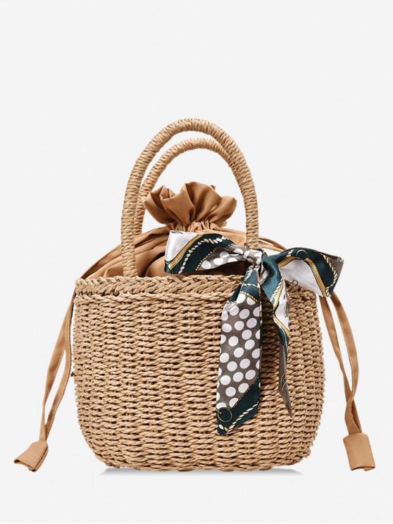 chic Drawstring Straw Mini Beach Handbag - LIGHT BROWN