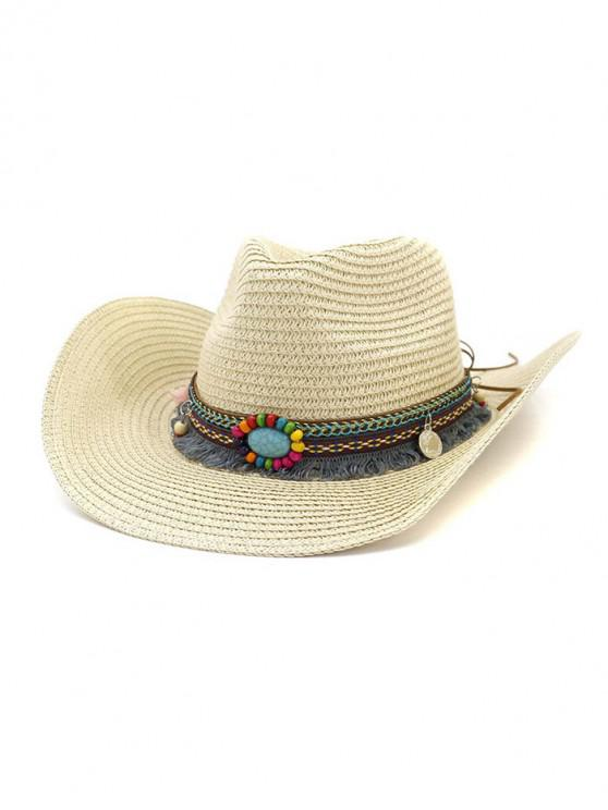 unique Straw Fringe Stone Cowboy Hat - BEIGE