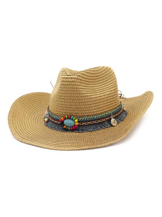 ladies Straw Fringe Stone Cowboy Hat - KHAKI