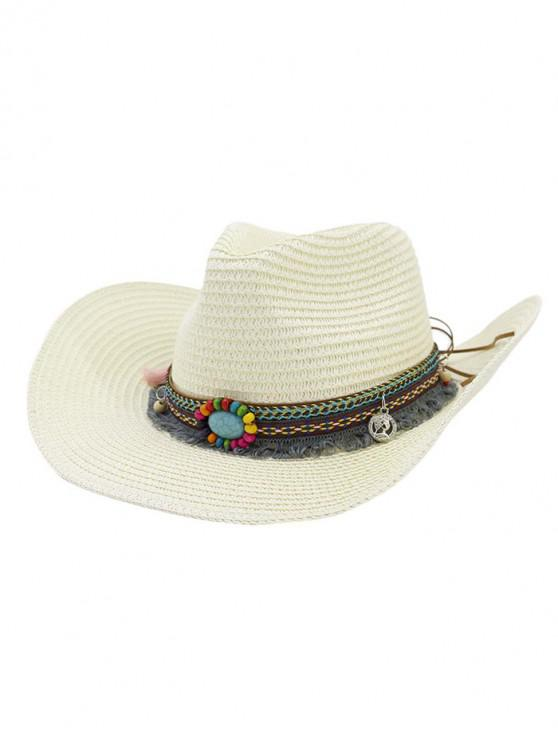 hot Straw Fringe Stone Cowboy Hat - MILK WHITE