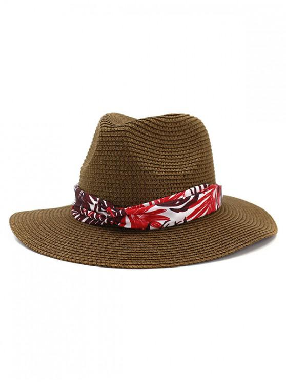 4392d03c304 21% OFF   NEW  2019 Leaf Print Ribbon Straw Hat In COFFEE