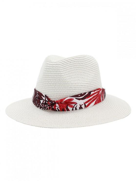 buy Leaf Print Ribbon Straw Hat - MILK WHITE