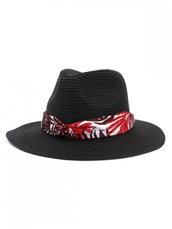 womens Leaf Print Ribbon Straw Hat - BLACK