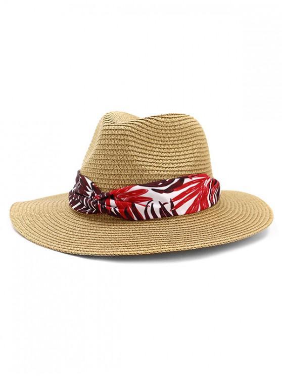 women Leaf Print Ribbon Straw Hat - KHAKI