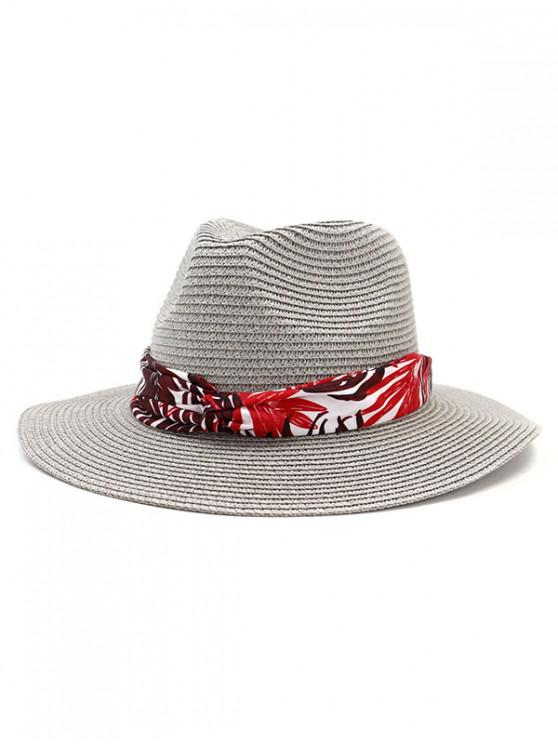shop Leaf Print Ribbon Straw Hat - GRAY
