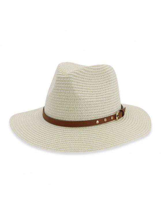 outfit Buckle Belt Straw Panama Hat - WHITE