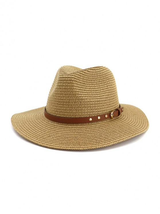 lady Buckle Belt Straw Panama Hat - KHAKI