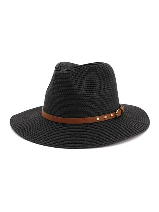 affordable Buckle Belt Straw Panama Hat - BLACK