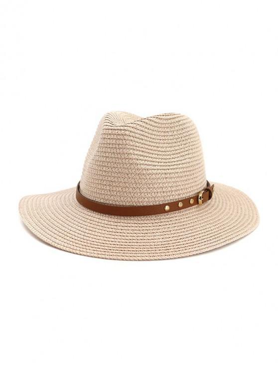 latest Buckle Belt Straw Panama Hat - PINK
