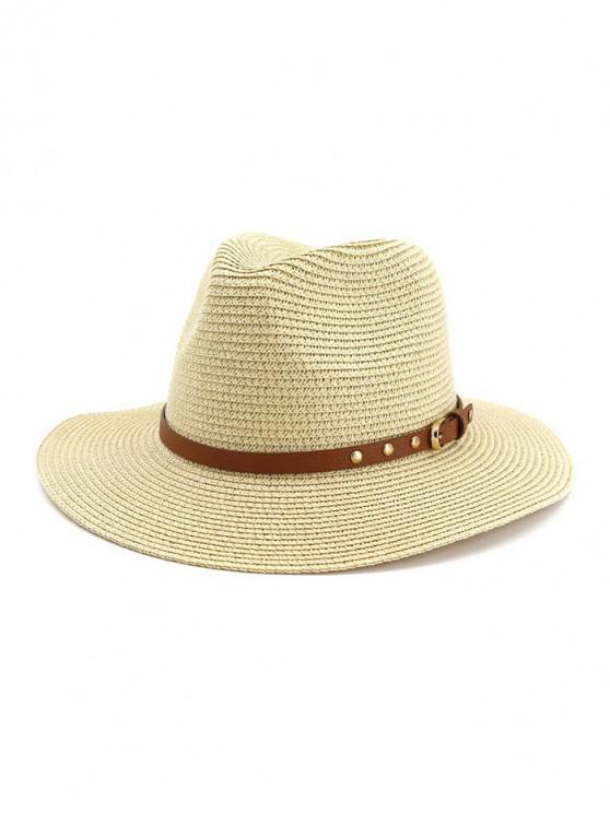 women Buckle Belt Straw Panama Hat - BEIGE