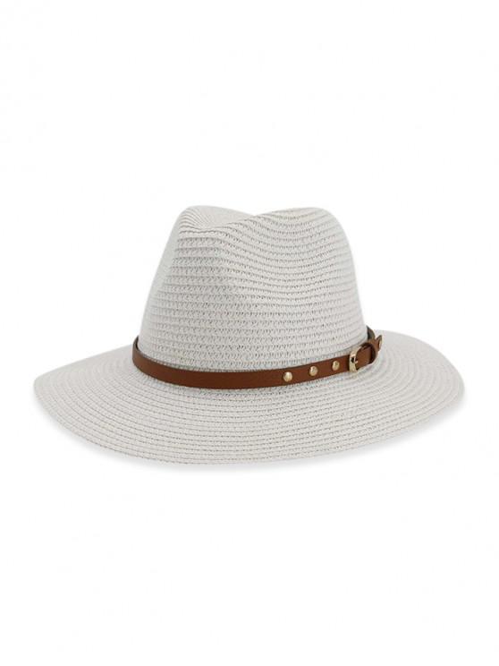outfits Buckle Belt Straw Panama Hat - MILK WHITE