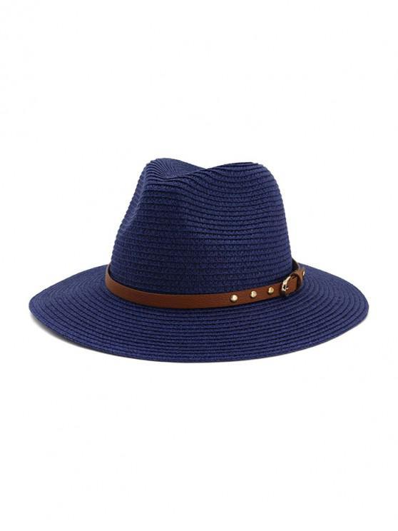 women's Buckle Belt Straw Panama Hat - CADETBLUE