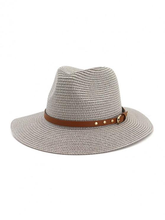 trendy Buckle Belt Straw Panama Hat - GRAY