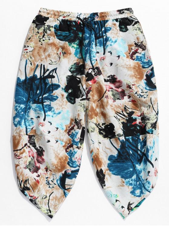 new Flower Painting Print Casual Harem Pants - MULTI L