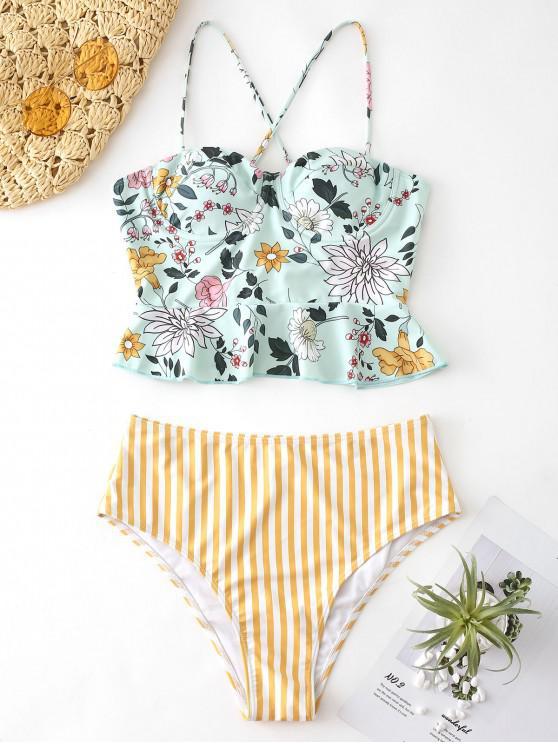 buy ZAFUL Floral Striped Lace Up Peplum Tankini Set - MULTI-A L
