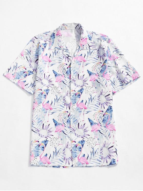 chic Tropical Leaf Flamingo Print Casual Beach Shirt - MULTI S