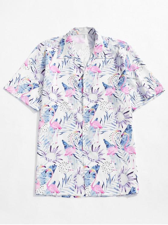 fancy Tropical Leaf Flamingo Print Casual Beach Shirt - MULTI M