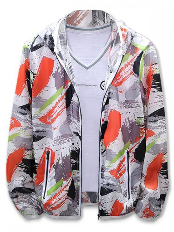 shops Painting Print Sun Protection Hooded Jacket - ORANGE 4XL