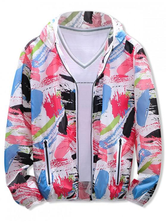 trendy Painting Print Sun Protection Hooded Jacket - RED L