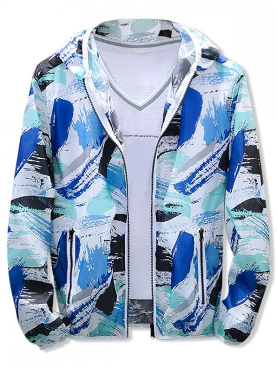 buy Painting Print Sun Protection Hooded Jacket - BLUE XL